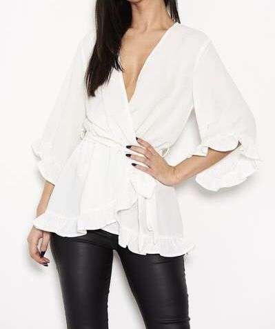 Frill Wrap Top Cream