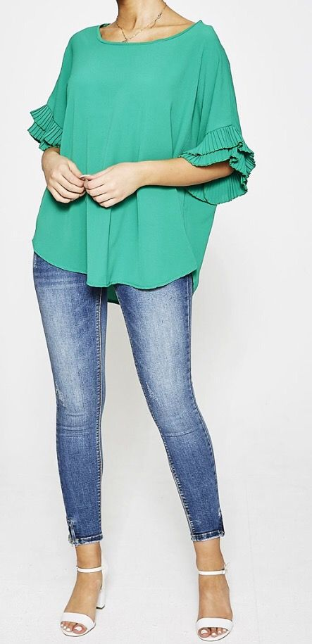 Lucy Ruffle Sleeve Top